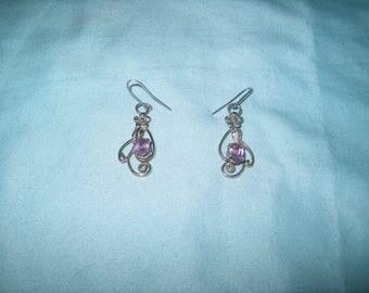 Vintage Pierced Earrings, Purple Stone, Jewelry