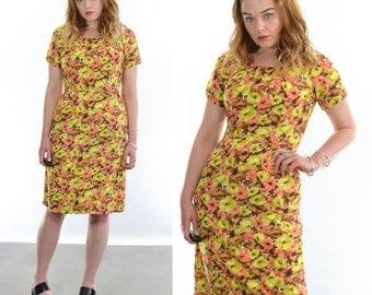 Vintage 80's Knee Length Floral Print Dress