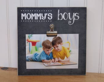 Mommy's Boys Picture Frame Gift for Mom, Wood Frame, Photo Display, Mother's Day Gift, Personalized Gift For Her, Personalized Photo Frame