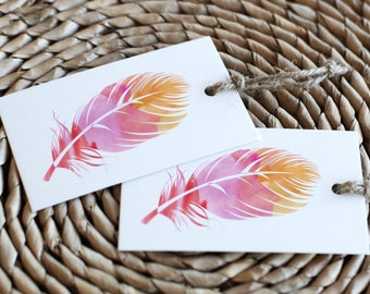 Printable Watercolor Feather Tags | Boho Shower Favor Tag | Instant Download PDF | Printable Favor Tags | Favor Hang Tag | Boho Party Tag