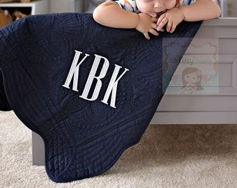 Navy Embroidered Quilt - Personalized Throw Quilt - Baby Quilt - Monogrammed Quilt - Custom Name Date ANY COLOR