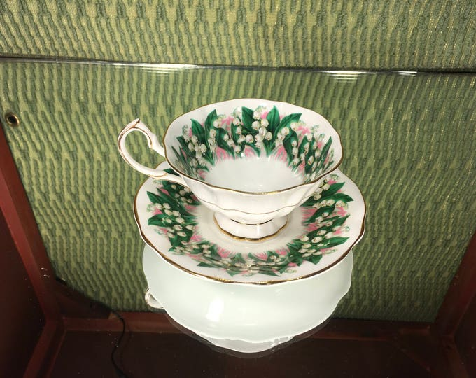 Queen Anne Lilly of the Valley Tea Cup and Saucer, English Bone China