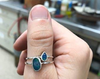 Australian opal stacking ring