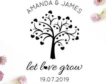 "Let Love Grow Stamp, personalised stamp, wedding favours, save the dates, flower seed packet favours, seed envelopes, 2""x3"" (cts81)"