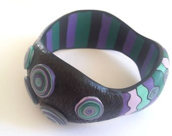 Polymer Clay Bracelet, Bangle Bracelet, Abstract Bracelet, OOAK