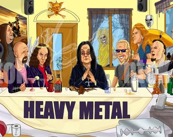 The heavy metal supper, the last supper, heavy metal caricatures sticker
