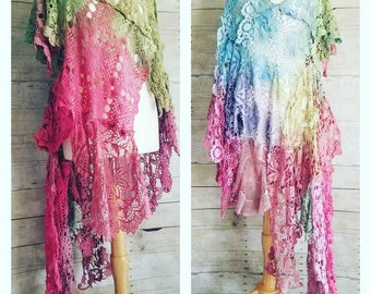 Pink Sunshine Shabby REVERSIBLE Woodland front back art gypsy floral ruffle rustic Boho dress top tunic crochet doily duster shawl tunic OS