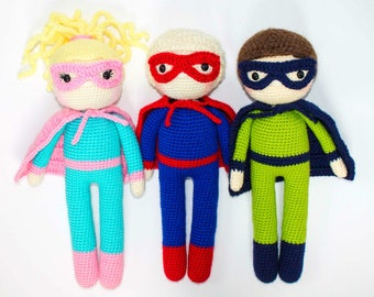 Crochet Superhero Doll Pattern Amigurumi Doll Pattern Dolly Crochet Boy Girl Pattern Friendly Superhero Amigurumi