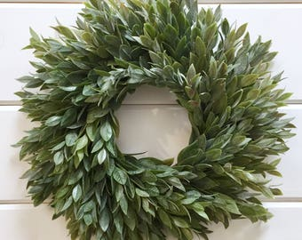 Farmhouse Faux Greenery Wreath | Italian Ruscus Wreath| Fixer Upper Style | Small Wreath