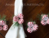 7 sets of Peppermints on Pine napkin rings
