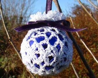 Retro Crochet irish lace bauble -Purple