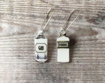 Gin and tonic - Drop earrings - Gin earrings - Gin jewellery - Gin gift - Gin lover - Quirky earrings - Gin bottle - Gift for her