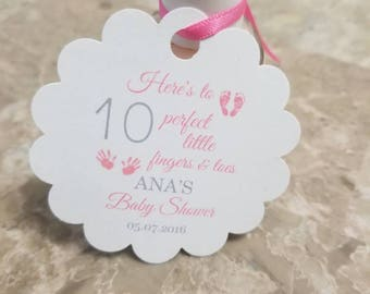 """Personalized Favor Tags 2x2 or 2"""",  Baby Girl Shower  tags, Thank You tags, Favor tags, Gift tags, baby shower, ten fingers, baby poem"""