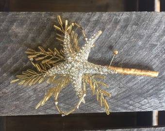 Starfish boutonniere in Gold with diamante - Beaded boutonniere - Beach wedding boutonniere - Grooms boutonniere