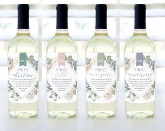 A Year of Firsts Wine Basket - Wine Labels (Romantic Garden) - Milestone Wedding, Bridal Shower, or Couple's Shower Gift