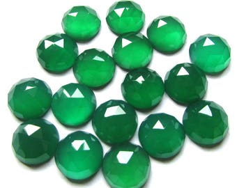 10 pieces 10mm Green Onyx Rosecut Round Cabochon Gemstone, Green ONYX Round Rose Cut Cabochon, Green Onyx Cabochon Rosecut Round Gemstone