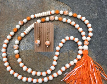 orange & white Long Beaded tassel necklace wood beaded necklace Bohemian necklace boho Game Day jewelry sets custom Gameday