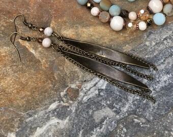 tassel earrings boho antiqued gold chain tassel bohemian earrings creamy white beads copper faceted czech glass beadsdangle drop  earrings