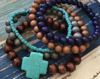 mens bracelets cross bracelet stack of beaded bracelets Beach jewelry Bohemian bracelets set of 5 bracelets turquoise cross bracelet