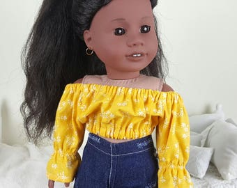 18 inch doll yellow peasant blouses | mustard yellow floral crop top