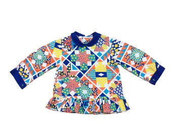 Vintage French patchwork flower power long sleeved baby blouse top with collar age 9-12 months