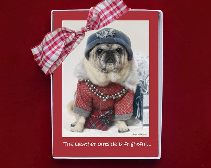 NEW BOXED HOLIDAY Cards - Pug Holiday Cards - 5x7 -  The Wine is So Delightful