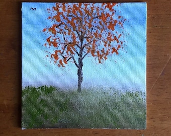 Miniature painting of tree in the Fall