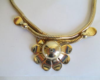 Vintage Jewelry - Necklaces - Gold Toned Necklace - Heavy Round Snake Chain - Flower Sun Motif