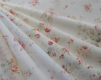 "Bundle of 1/8 Quilt Gate Mary R Collection Pretty Victorian Roses Shabby Fabric. Approx. 9"" x 21"" Made in Japan"
