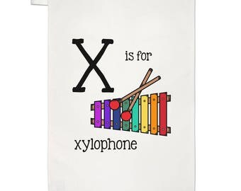 Letter X Is For Xylophone Tea Towel Dish Cloth