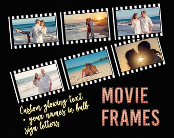 Custom movie poster, your photos into film strip frames, digital file, your photos +custom text, anniversary printable, wedding poster 16x20