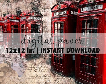 London 12x12 digital paper, red telephone boxes, premade scrapbook pages, 12x12 art print, scrapbook vintage paper, craft paper