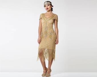 Annette Gold Vintage 20s Flapper Great Gatsby Downton Abbey Charleston Art Deco Bridesmaid Wedding Guest Bridal Shower Dress