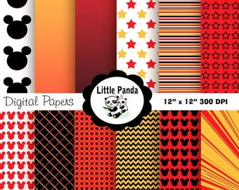 50% OFF SALE Mickey Mouse Digital Paper Pack, Scrapbook Papers, 12 jpg files 8.5 x 11  - Instant Download - D83