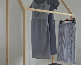 Handmade, Natural Pine Wood, Clothes Rail, Clothes Rack with Shelf !