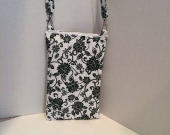 Black and white flower eye glass case with strap