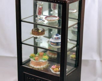 """Dollhouse Miniature 1"""" scale Bespaq  Dining Hutch  for fine china or Bakery Shop Mirrored Case including bakery delicassies"""