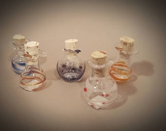 tiny potion bottle, miniature bottle, hand blown bottle, decorative bottle