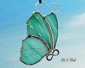 "Stained glass butterfly aqua suncatcher - Body INFINITY Love, Hope, BestFriends or Live Love Laugh - 4 ""x 3"" (9.6 x 7 cm)"