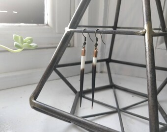 Brass Porcupine Quill Earrings