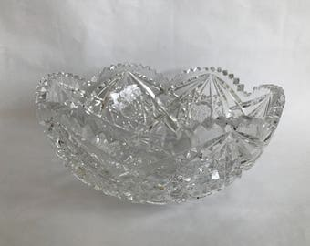 CUT GLASS Bowl, ABP Wheel Cut Glass, Brilliant Cut Glass, Crystal Serving Bowl, American Brilliant Period,Saw Tooth Cut Glass,Star Cut Glass