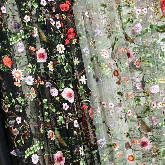 Heavy embroidery mesh fabric black gray sheer chic