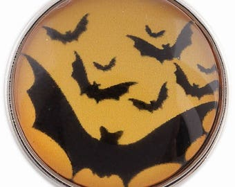 C1117 Art Glass Print Chunk - Halloween Bats