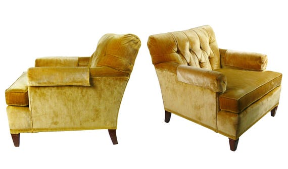 Vintage North Hickory Furniture Company Yellow Gold Tufted Velvet Lounge  Side Chair Arm Chair Armchair Seating Living Room Accent Chair