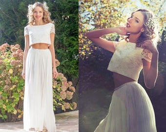 Two piece crop top wedding dress/ Bohemian wedding dress/ chiffon boho wedding dress/ Chiffon skirt/ Hochzeitskleid/ Robe de mariée bohème