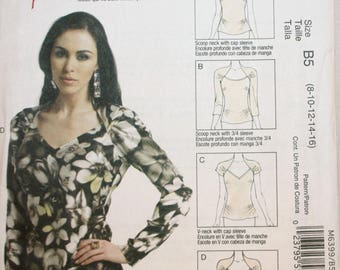 Misses Blouse Sewing Pattern - McCalls 6399 - Misses Top sewing Pattern - New  - Uncut - Size 8 - 10 - 12 - 14 - 16