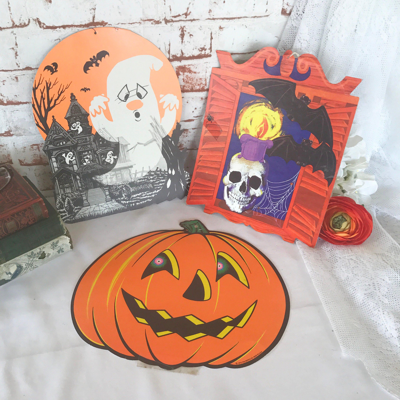 Vintage halloween paper decorations - 1 Vintage Halloween Die Cut Ghost Haunted House Bats Skull Skeleton Pumpkin Jack