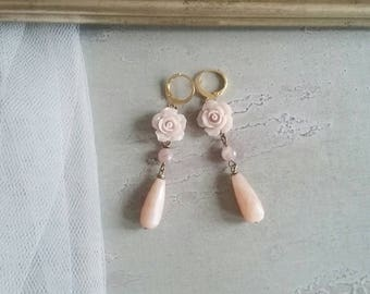 Earrings with Rose roses and moonstone