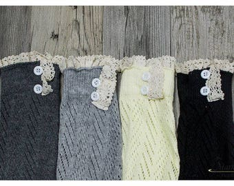 Women Knitted Lace Boot Cuffs Boot Toppers Knitted Boot Cuffs Button Trim Boot Cuffs