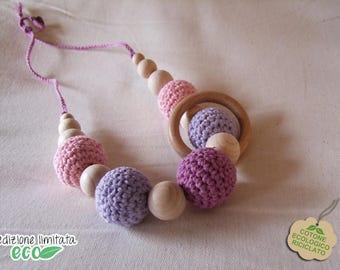 Purple Violet pink recycled cotton lactation necklace